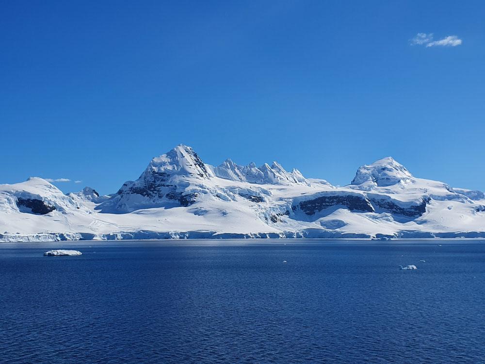 Wir fahren Richtung Damoy Point und dort ein bisschen im Kreis - mein Versuch, aus der Sonne zu bleiben, wird von Walen und bizarr geformten Eisbergen torpediert