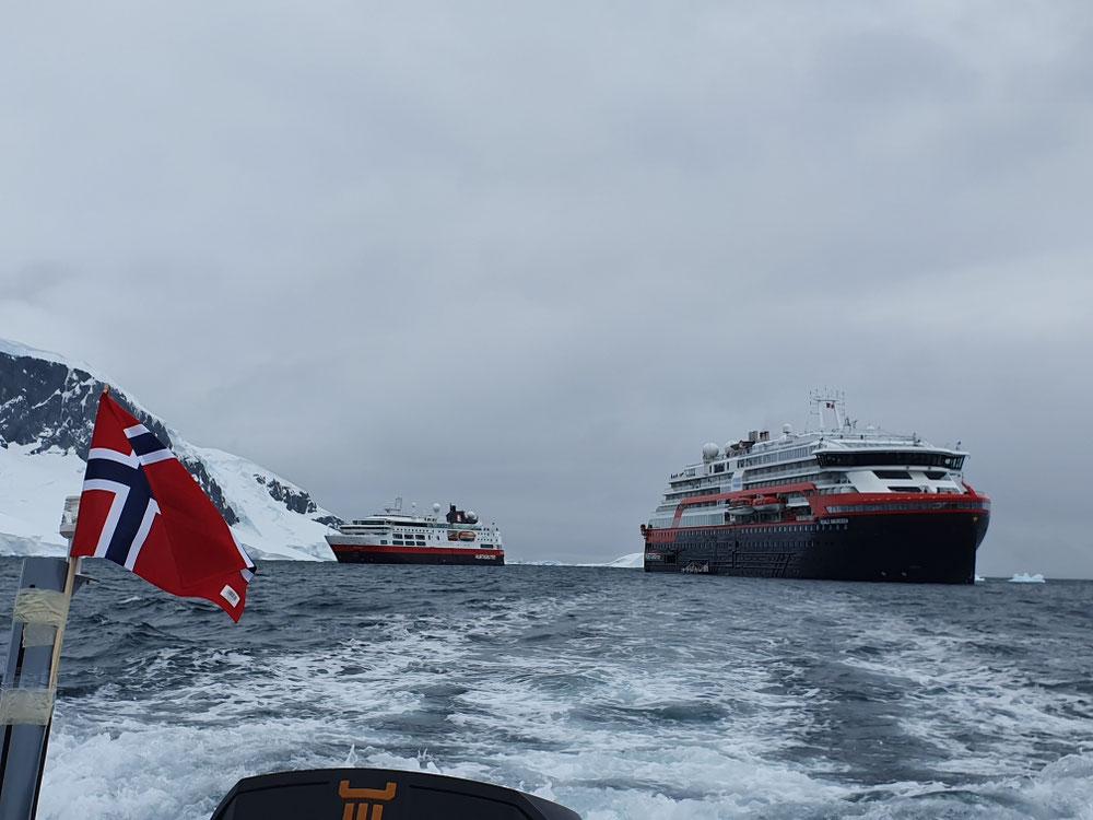 Hurtigruten Familientreffen - Tenderboot, MS Fram und unser Schiff