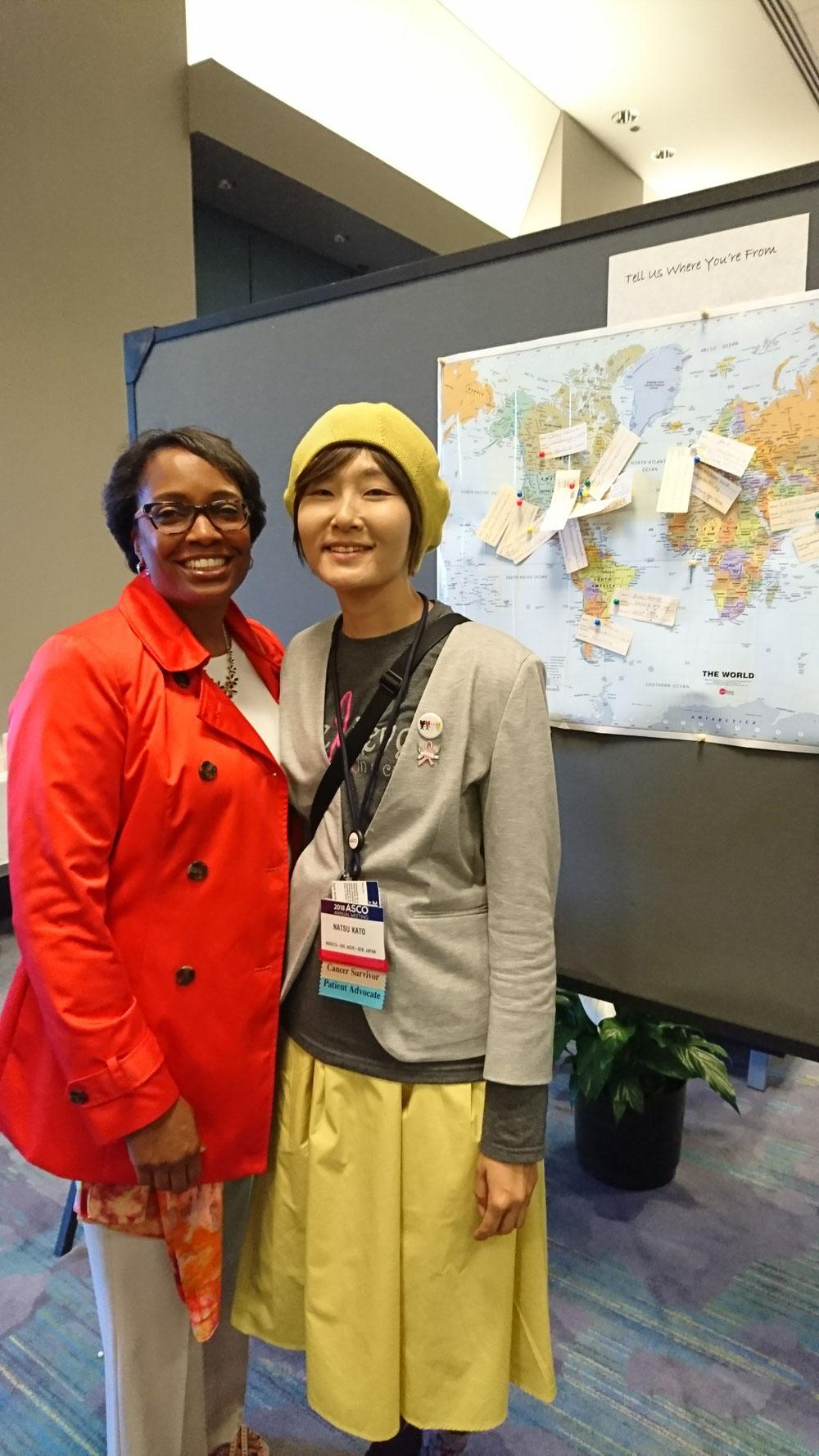アメリカの若年乳がんの患者団体のStacyさんと。2月のフロリダでのサミット以来の再会。