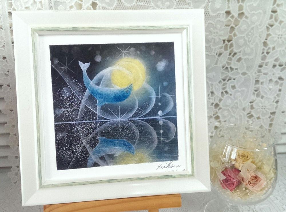 【月とイルカ】ミラージュパステルアートのモチーフ練習