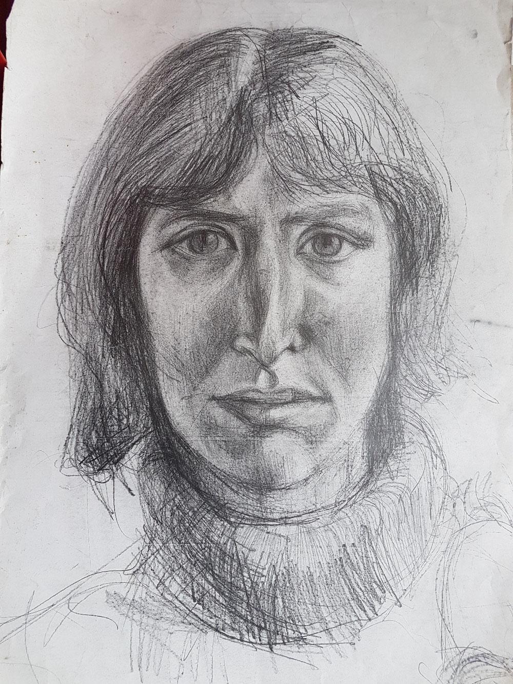 Junge Frau, Graphit auf Papier, 1994