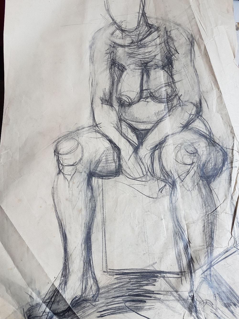 Sstzende alte Frau, Bleistift auf Papier, 1995