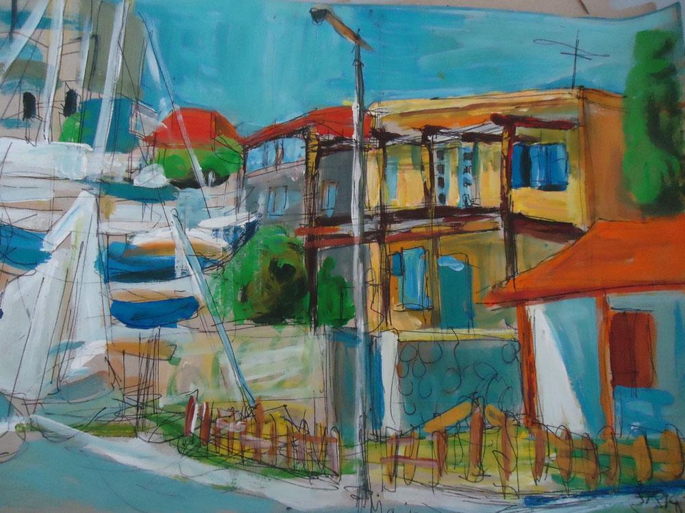Agios Nicolaos, Tempera auf Papier, 2014
