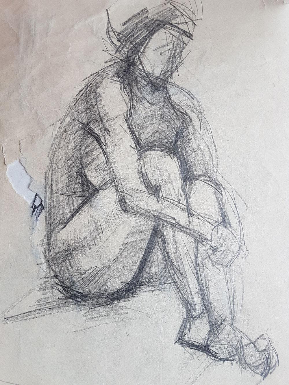 Die Kauernde, Bleistift auf Papier, 1992
