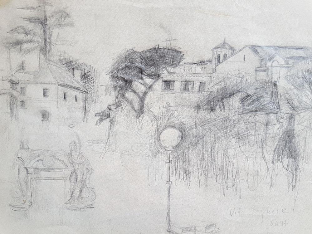 Villa Borghese, Bleistift auf Papier, 1997