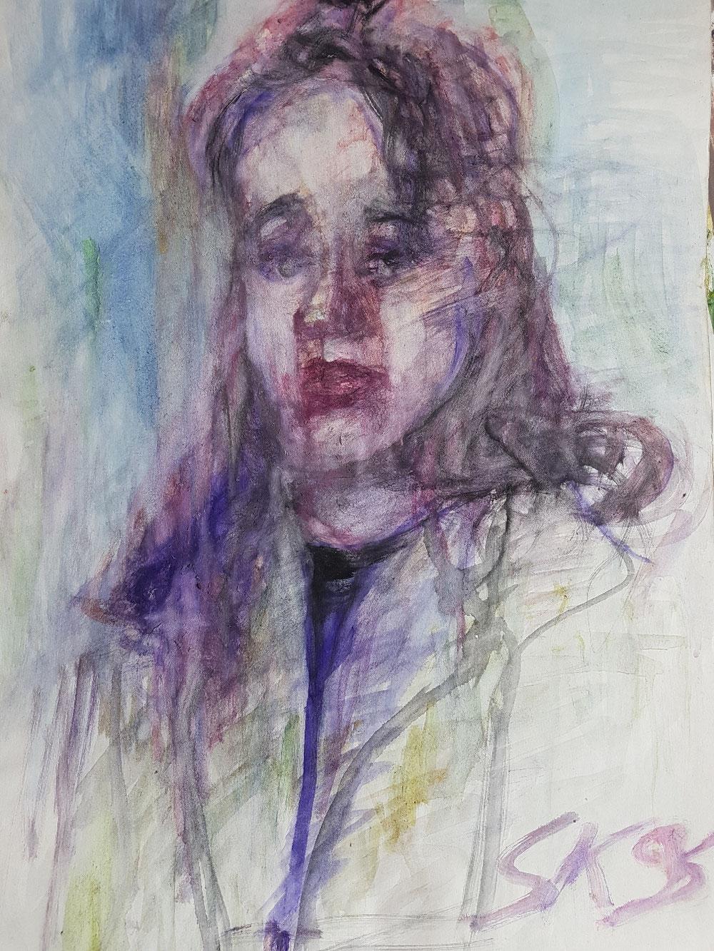Christina, Tempera auf Papier, 1996
