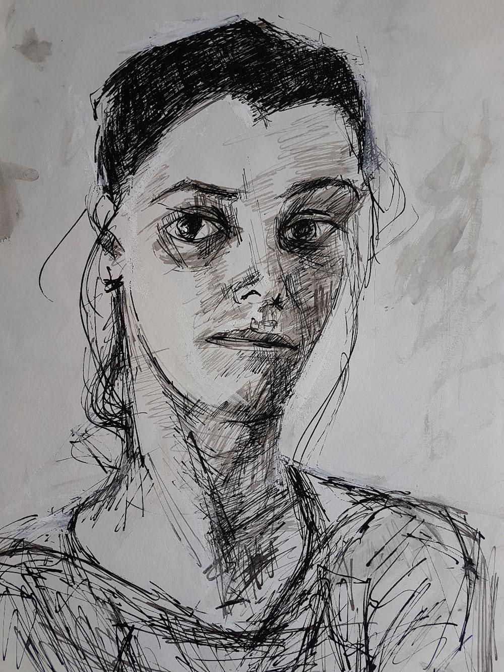 Jasmin, Tinte auf Papier, 1995