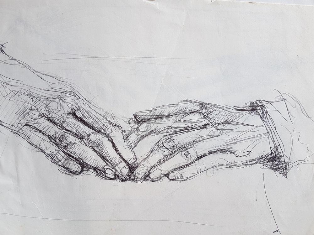 Die Hände meiner Mutter I, Bleistift auf Papier