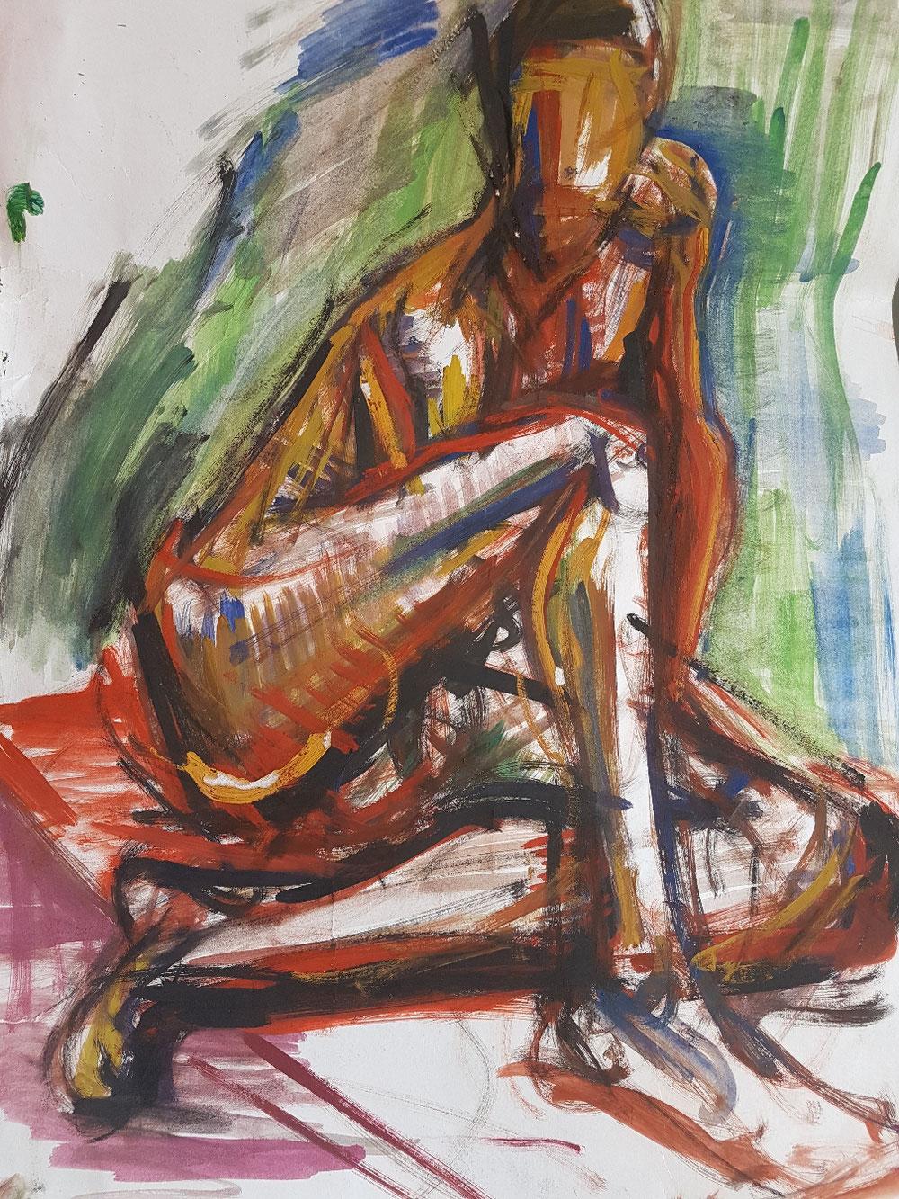 Der Jüngling, Tempera auf Papier, 1992
