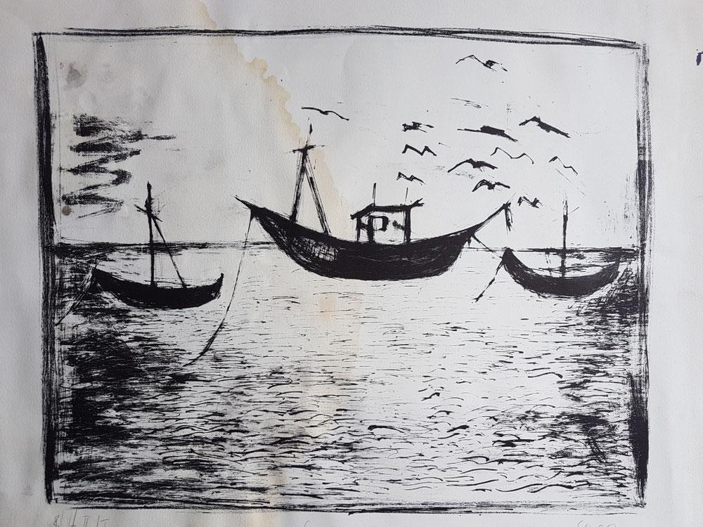 Fischerboote in Spanien, Lithographie, 2000