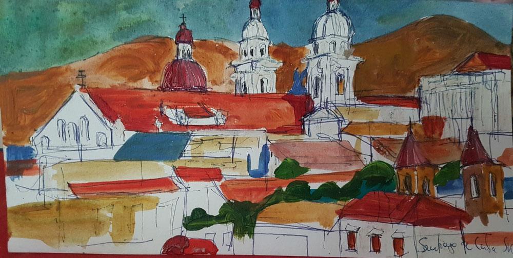 Santiago de Cuba, Tempera auf Papier, 2017