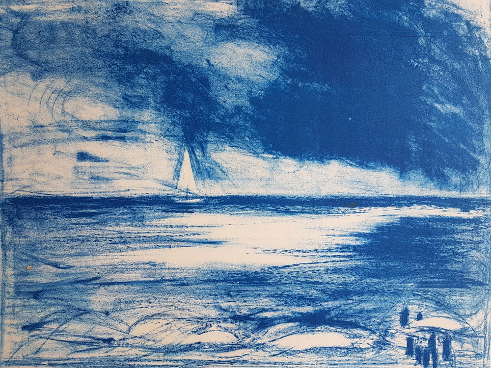 Segelboot am Meer, Lithographie, 2002