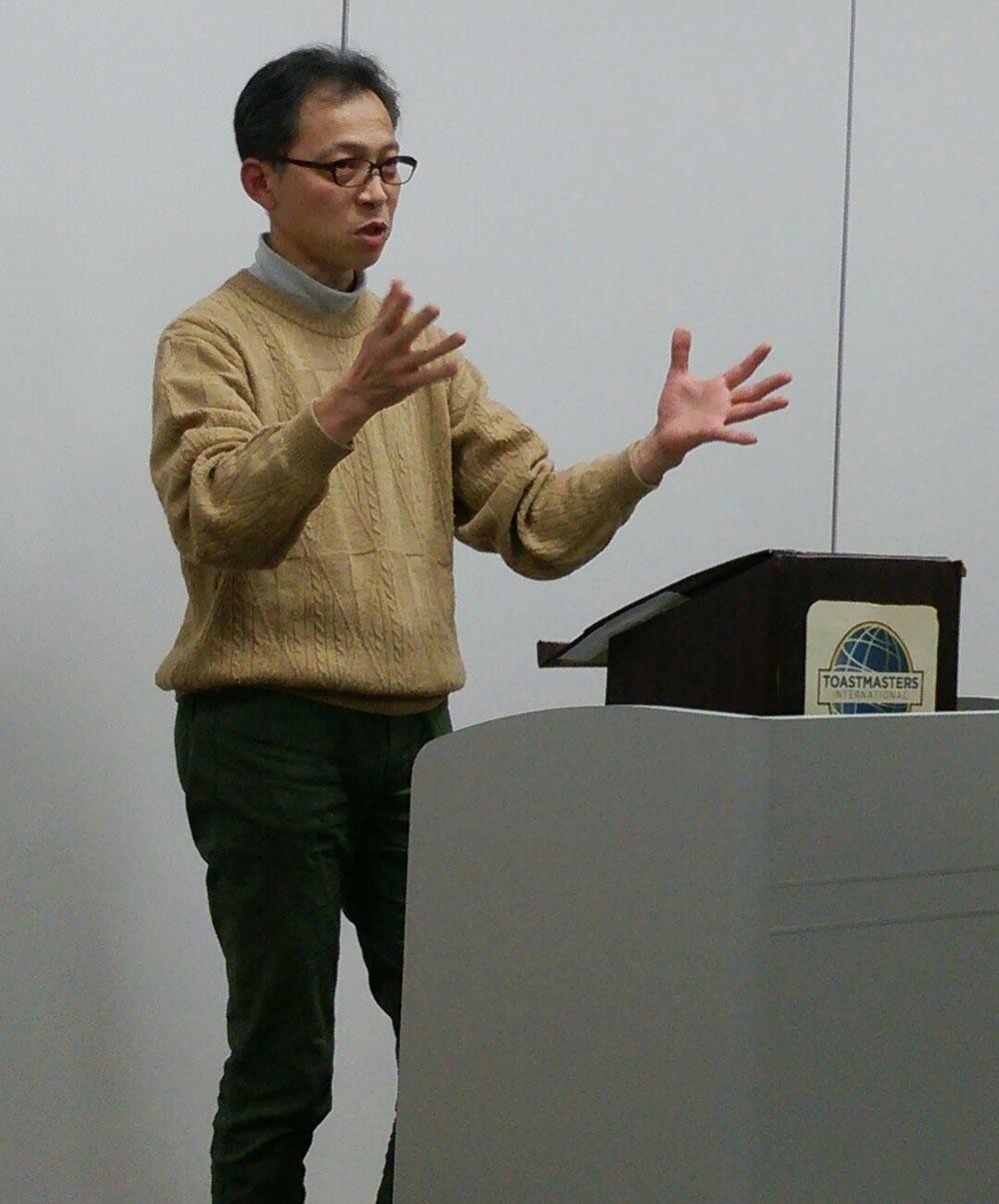 スピーチワークショップ講師のO原さん(桜坂TMC)