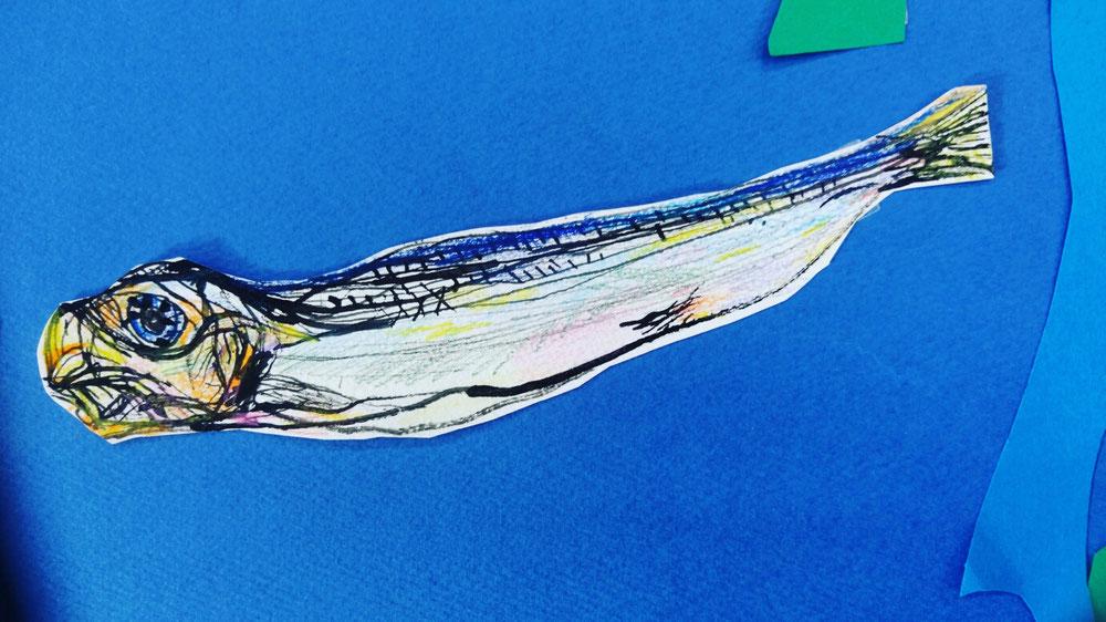 干物の魚を描く