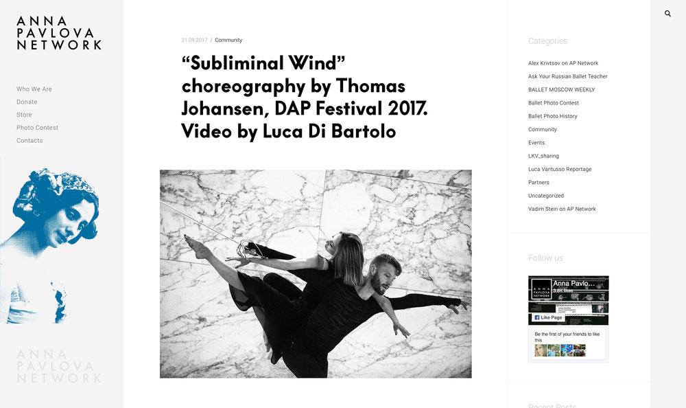 """Subliminal Wind"" choreography by Thomas Johansen, DAP Festival 2017. Video by Luca Di Bartolo, powered by AD STUDIO"