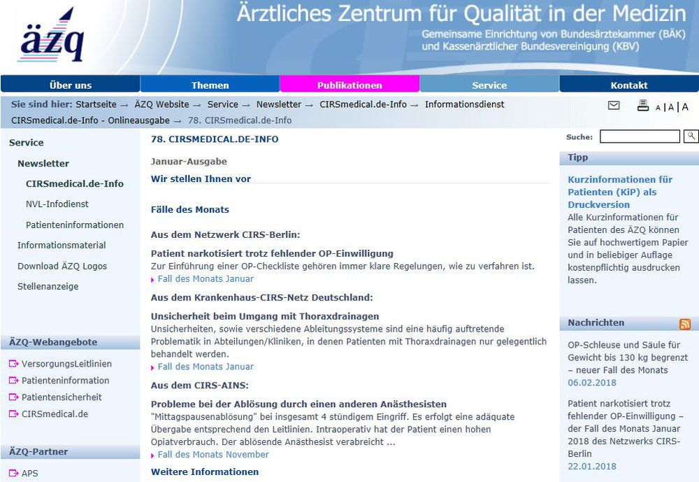Screenshot Website des äzq