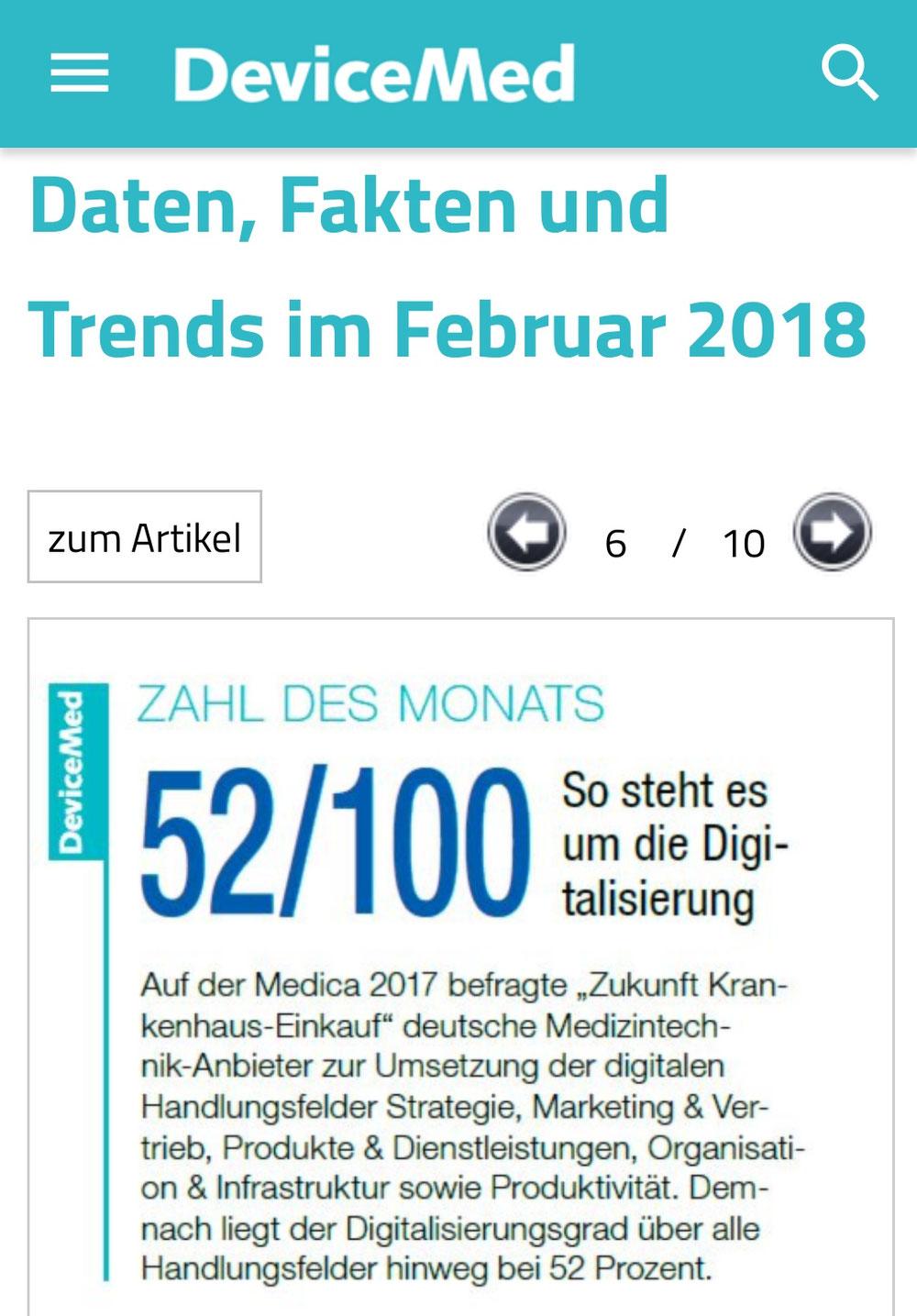 Screenshot von der mobilen Webseite www.devicemed.de