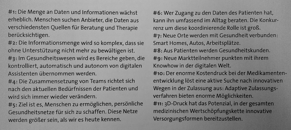 11 Zukunftstrends der Medizin (Quelle: Studie Medizin der Zukunft. b2 ahead, Leipzig)