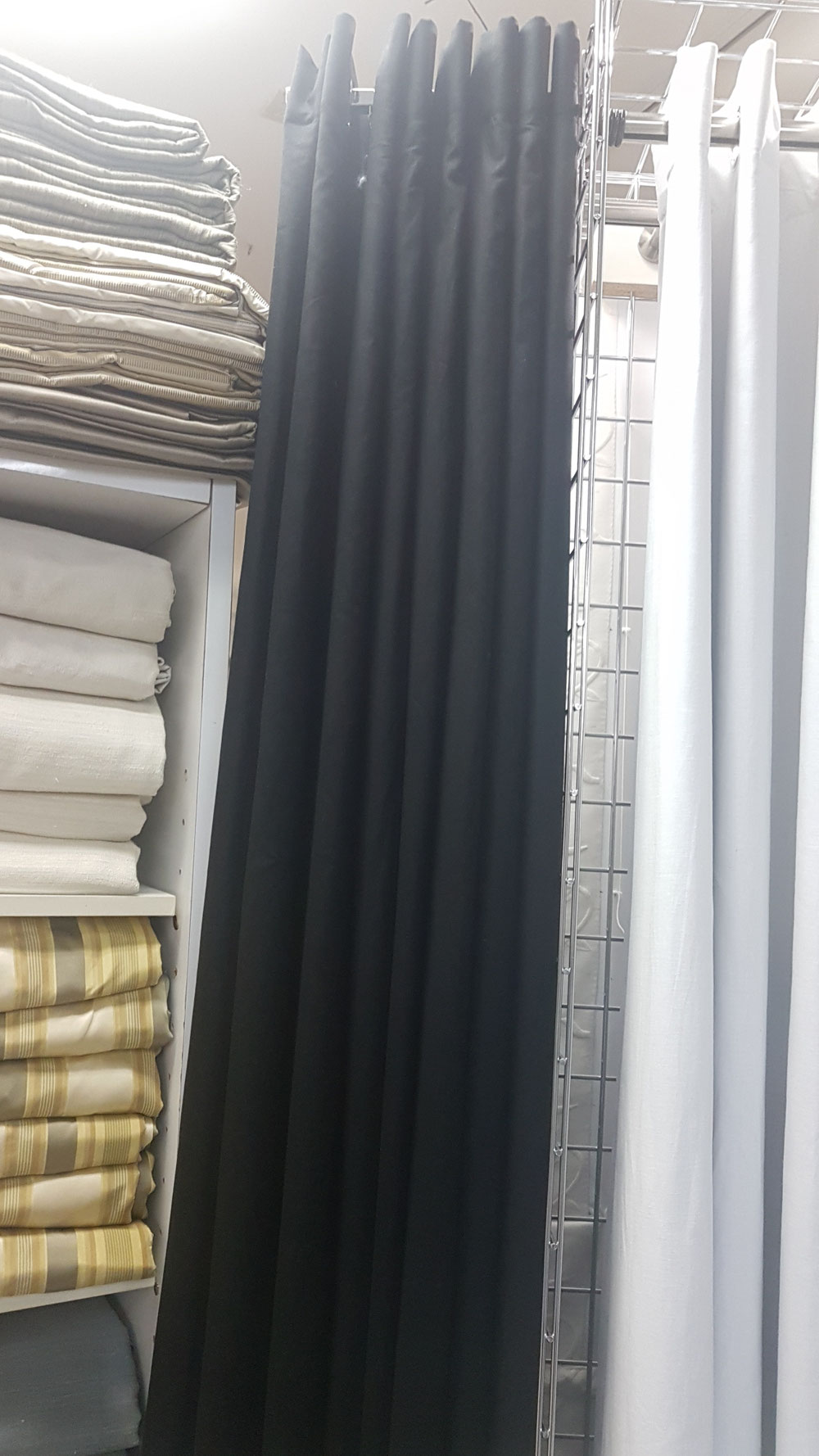 Linen lined thermal drapery panels available in 96 and 108 Long black