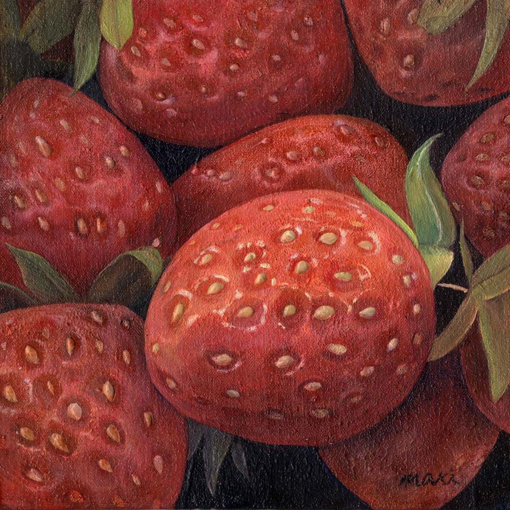 [苺~ん]150×150mm 油絵