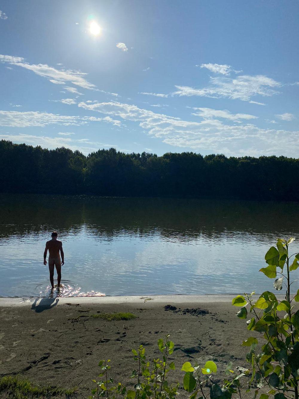 Ein Morgenbad in der Donau