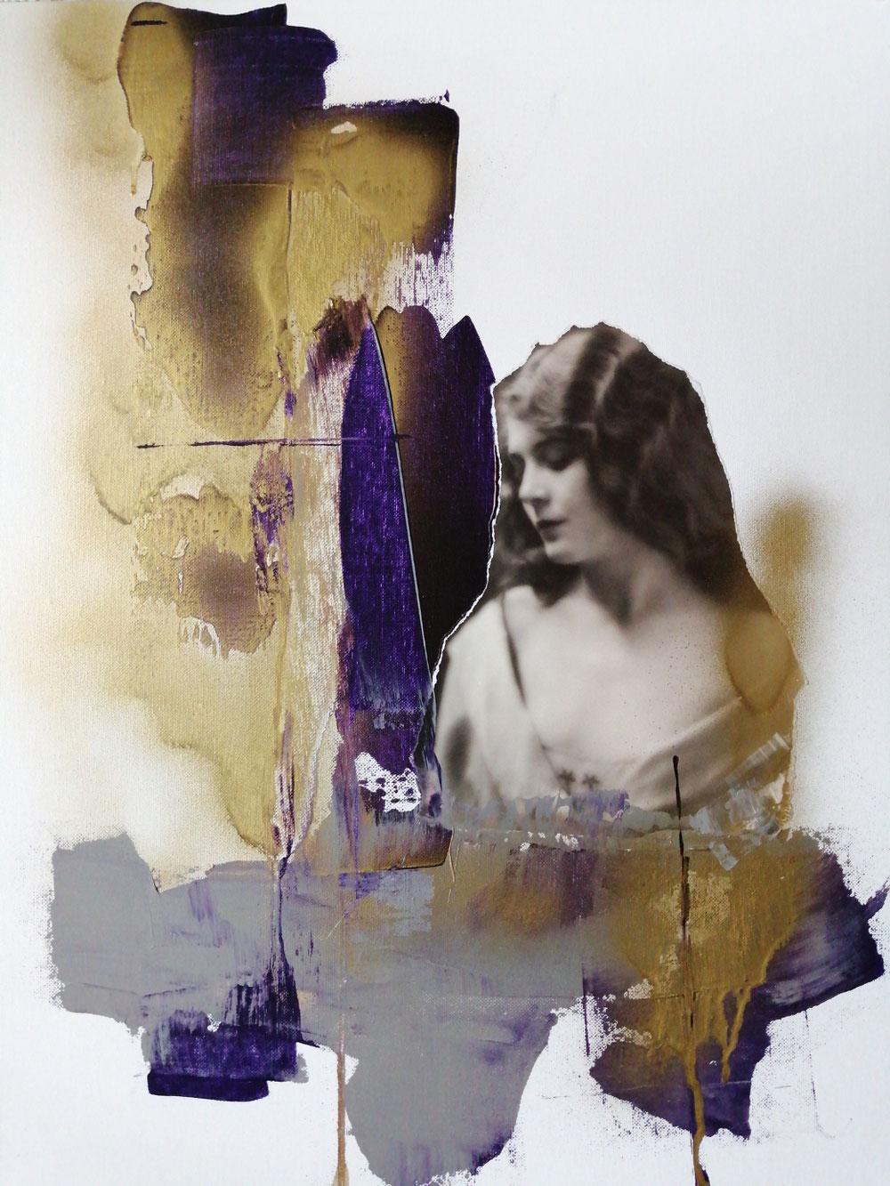 Ohne Titel. Acryl, Papier, Goldspray auf Malkarton. 50x60 cm.
