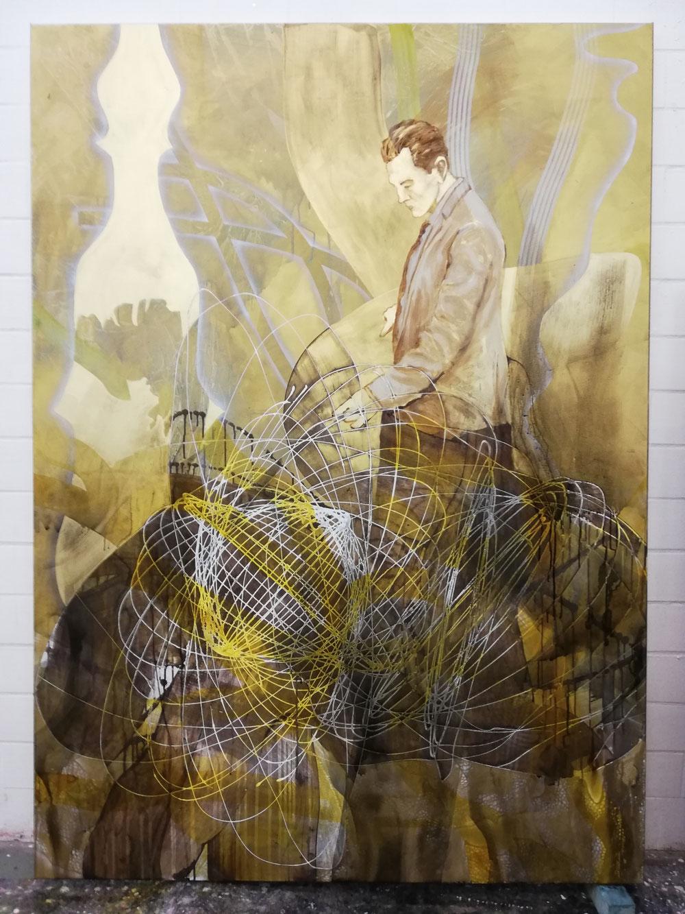 Swing Meister, 200x140 cm, Acryl und Tusche auf Leinwand, 2021