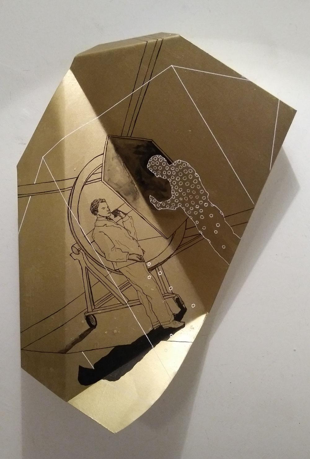 """folded"",  ink and acrylic on aluminium, approx. 50x35cm"