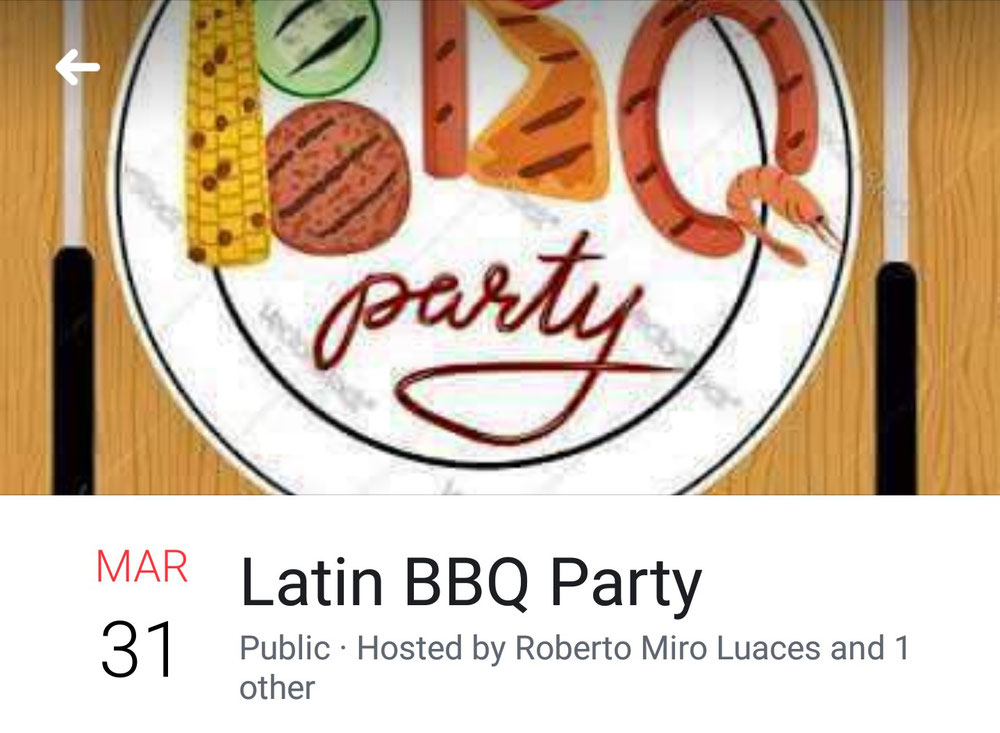 Latin BBQ Party 15:00~ 1500yen with BBQ plate and Mini-lesson by Miki