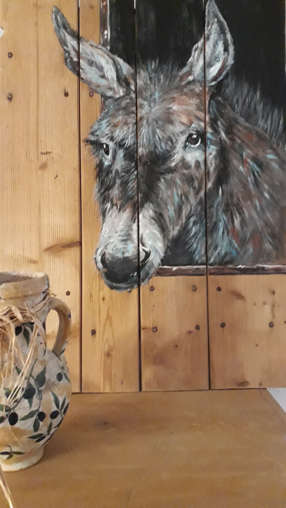 Esel, Öl auf Holz
