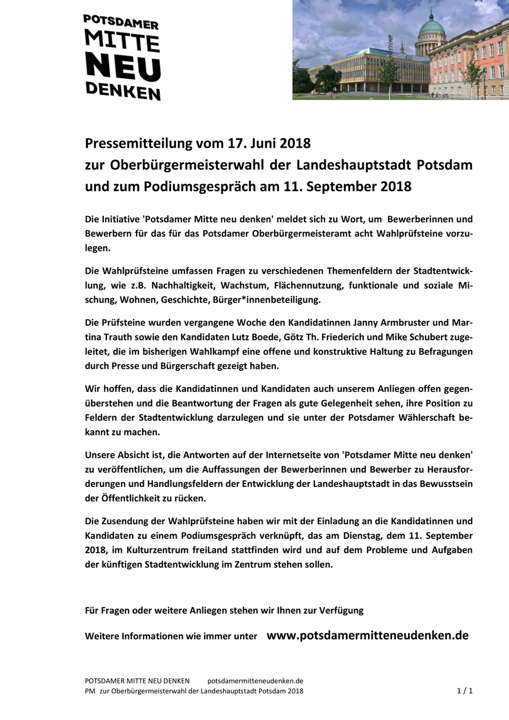 Pressemitteilung vom 17. Juni2018  zur Oberbürgermeisterwahl der Landeshauptstadt Potsdam und zum Podiumsgespräch am 11. September2018