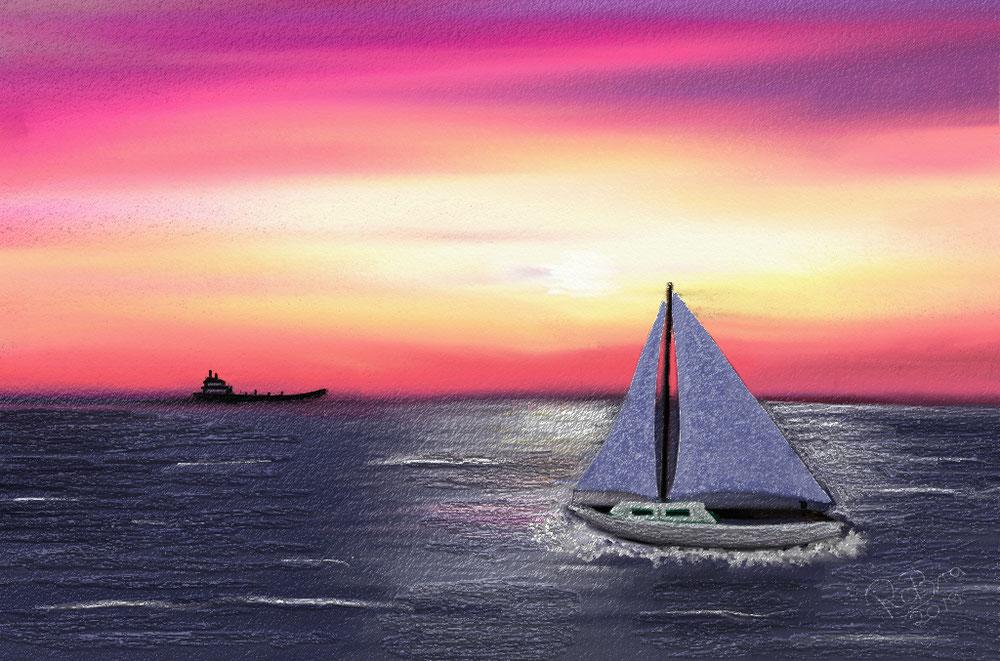 Sailing at sunset,   digital
