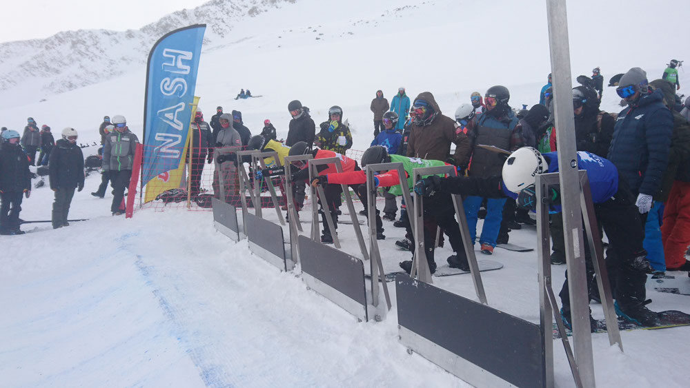 SBX athletes ready at the start gates about to race