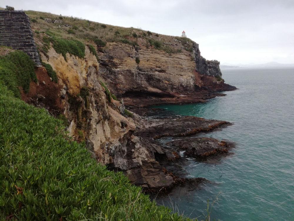 TAG DREIUNDZWANZIG Eigentlich waren wir in dieser Bucht in freudiger Erwartung auf Albatrosse, aber leider war die Kolonie auf der anderen Seite der Klippen und nur gegen überteuerte Bezahlung erreichbar ...
