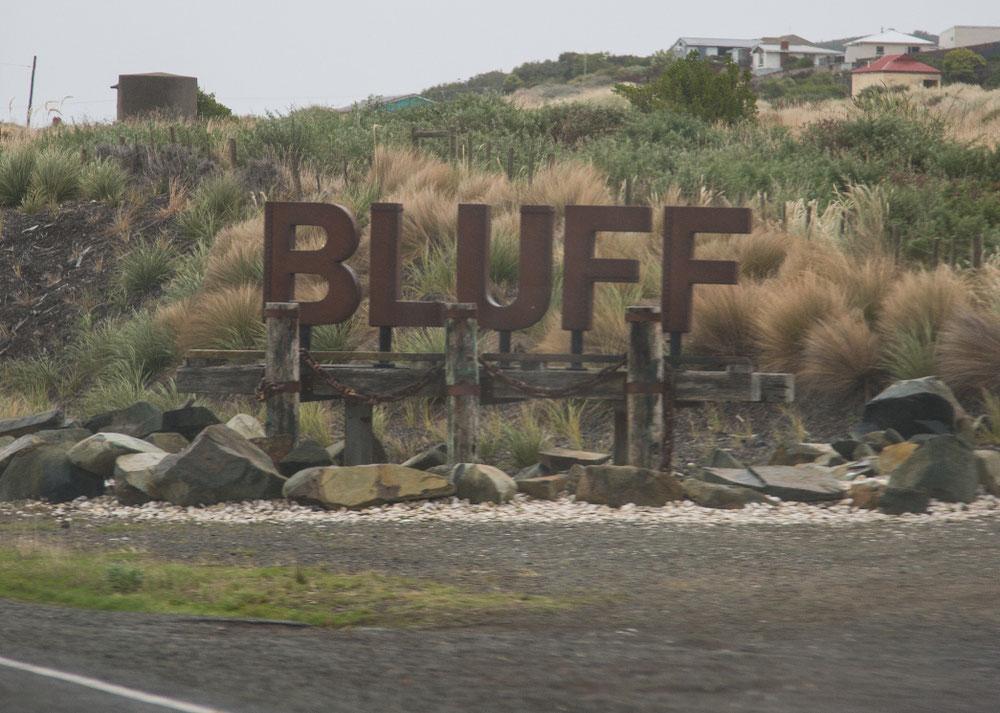 Erstmal ab nach Bluff. Der südlichste Punkt Neuseelands ...