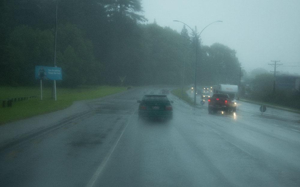 ... denn Neuseeland gehört zu den regenreichsten Ländern der Erde, was auch wir sprichwörtlich hautnah zu spüren bekamen. Die ganze Fahrt über hat es gegossen wie aus Kübeln ...