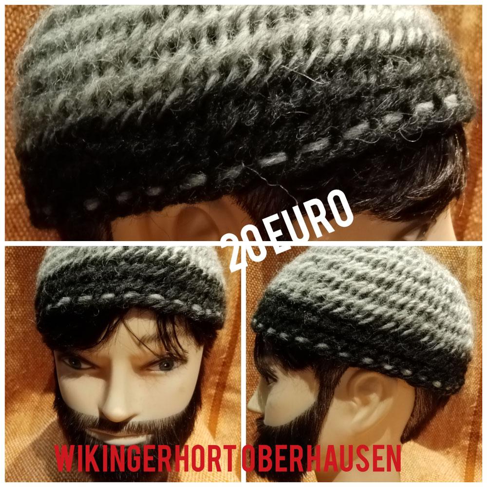Nadelgebundene Mütze mit breitem Rand und Ziersstich