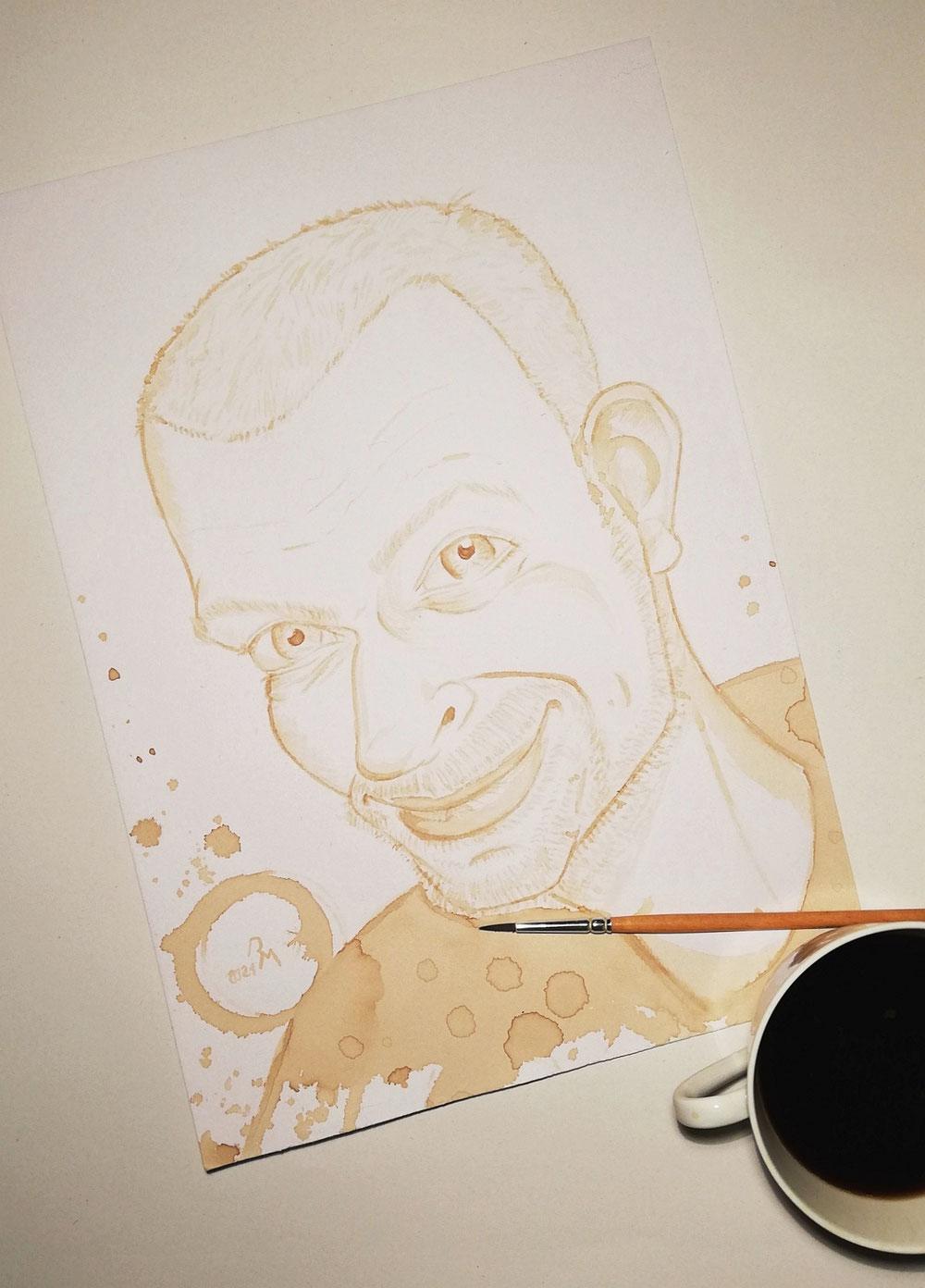 Ich mit Kaffee und Pinsel gemalt.
