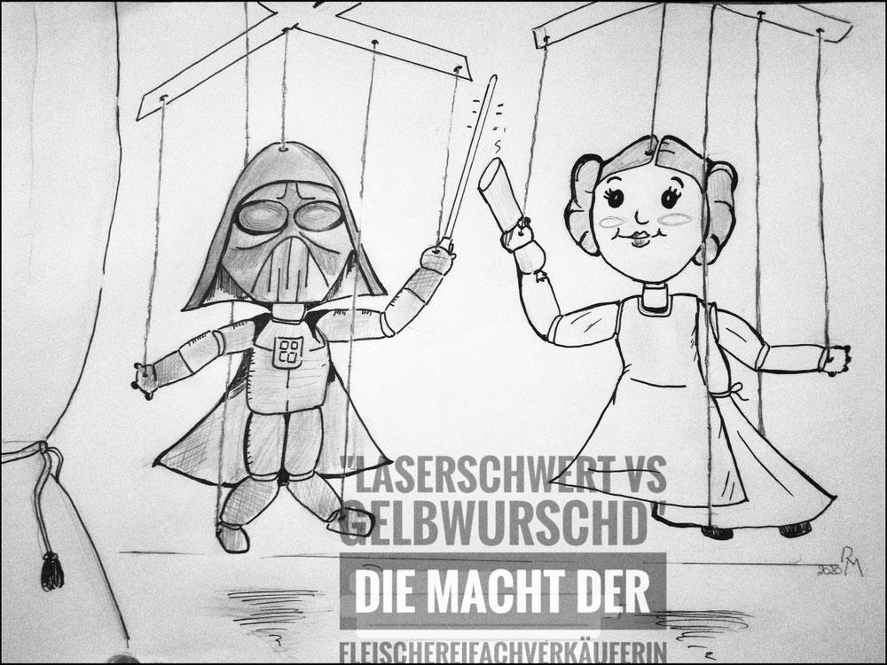 Bleistift/Tusche-Skizze