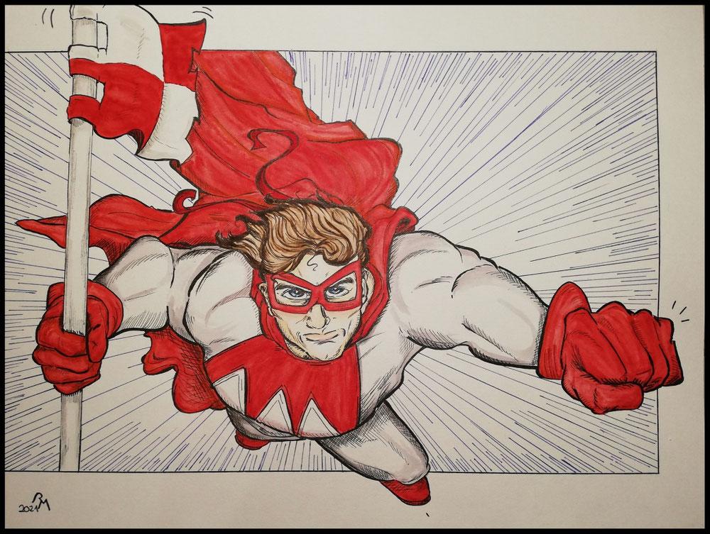 Ein Superheld, angelehnt an die klassischen Helden von Marvel und DC Comics, gemalt mit Tusche-und Pinselstiften.