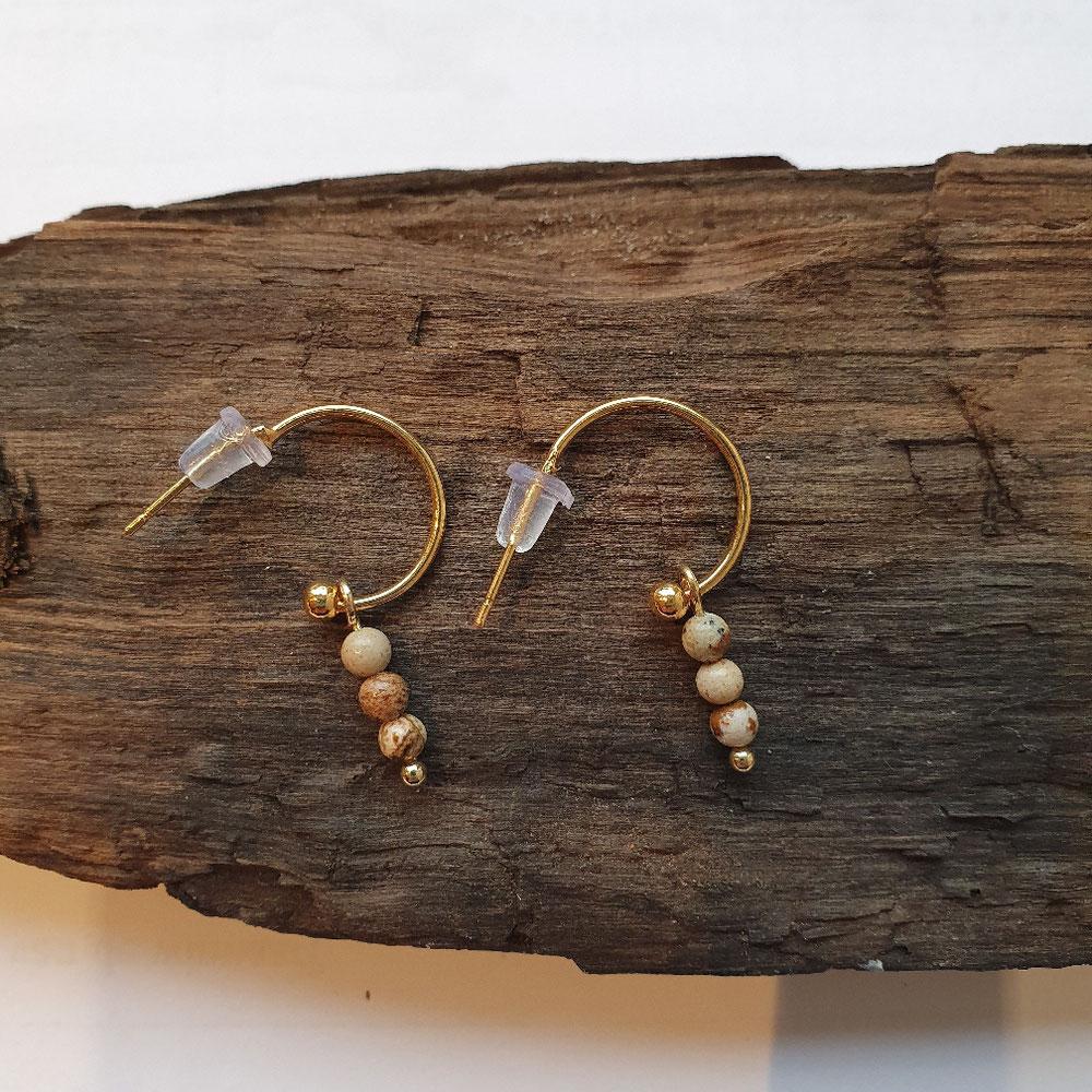 Stainless oorringen met bedel van Jaspis kralen 11.95