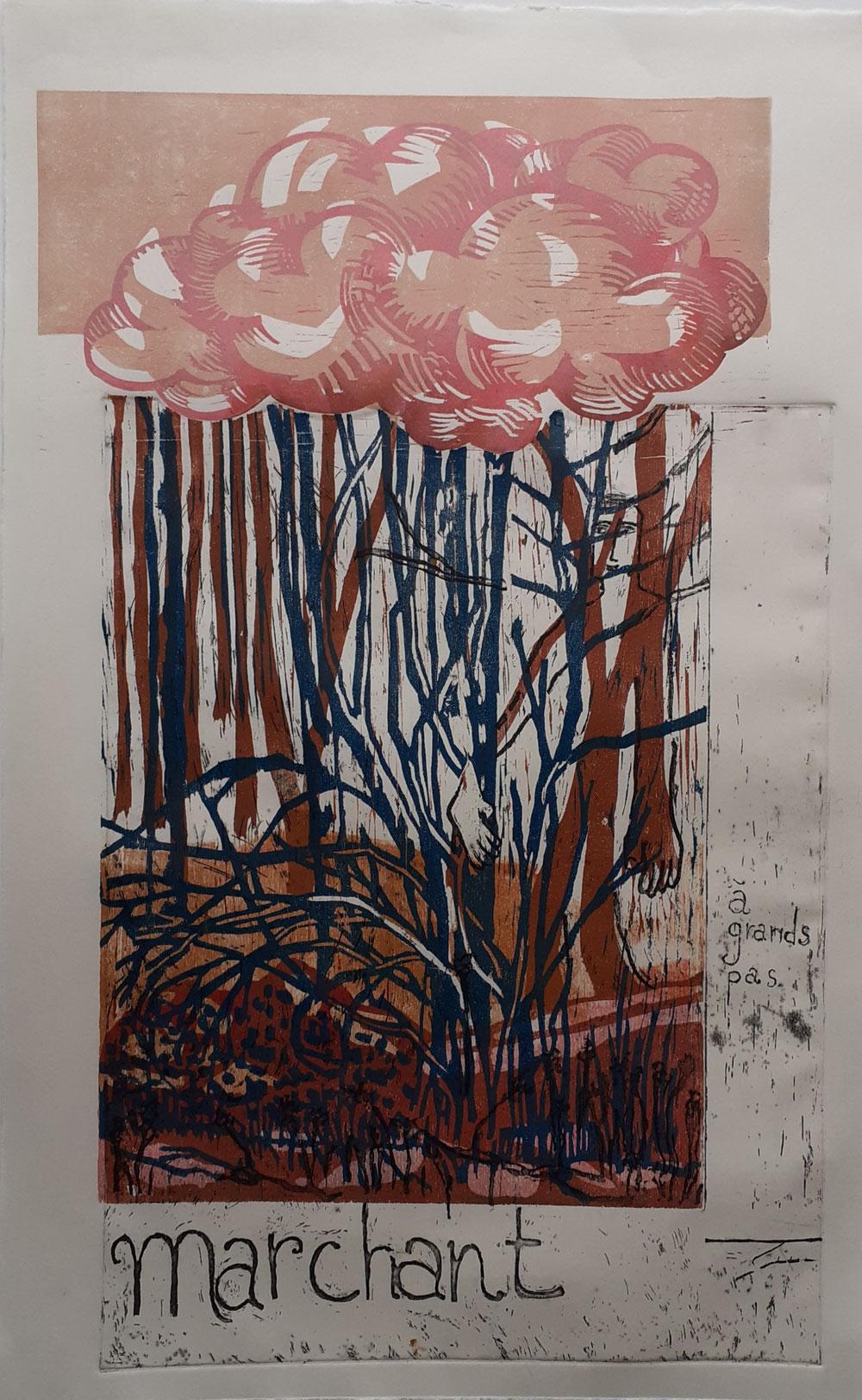 Marchant, gravure sur bois et eau forte, 40 x 60 cm