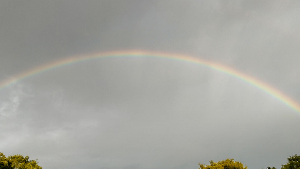 虹が見やすいように暗めに加工しています