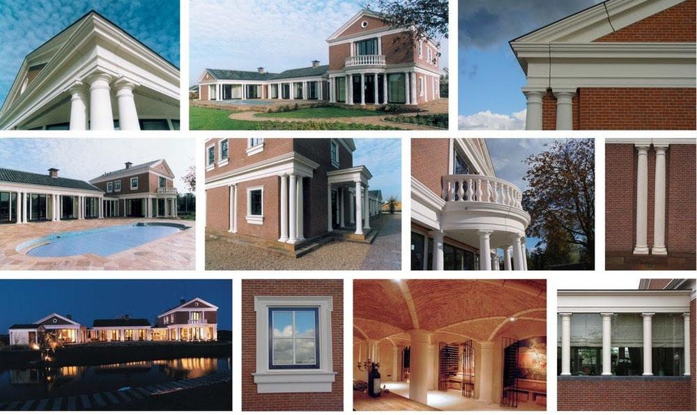 Beton, villa,  kolommen, dakranden, balkons, balusters en kozijnkaders. witte beton, beton amsterdam, beton haarlem, beton hoofddorp
