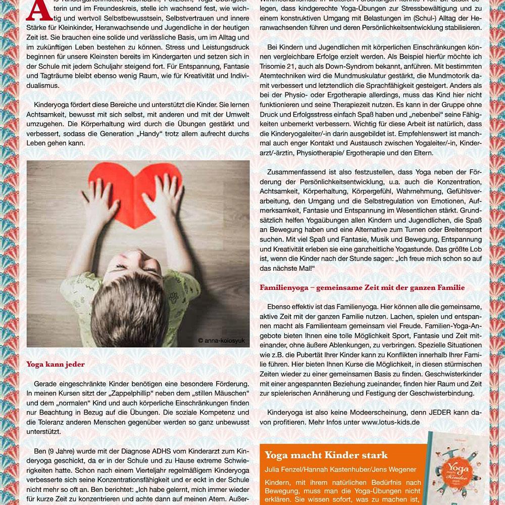 Ich durfte eine ganze Seite in der Lüttbecker, Ausgabe 01/19 S.28, über Kinder- und Familienyoga schreiben 😃