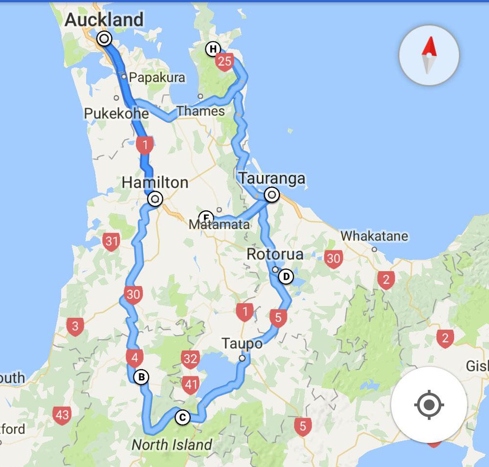 Unsere Reiseroute auf der Nordinsel. 1.Start in Auckland 2.Übernachtung in Taumaranui 3. Tongariro Alpine Crossing (leider gesperrt bei minus 10 Grad) 4.Rotorua Red Woods & Geothermale Quellen übernachten bei Bekannten (Ivor und Brenda- Brenor Alpaca) 5. Hobbiton Filmset 6. Coromandel Cove und nachts bei lowtide an den Hot Water Beach mit 30 anderen einen heißen Bach suchen den man nur bei Ebbe findet. 7.Verabschieden von Toni und Greg in Auckland
