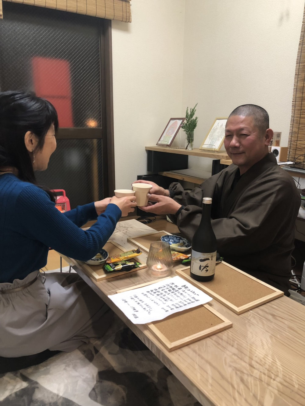 2019/2/8 寺飲み会に近隣の女性がご参加。