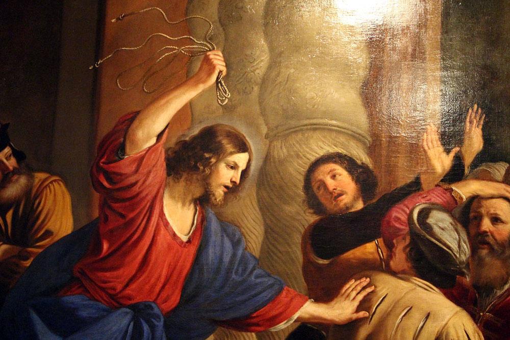 グエルチーノとバルトロメオ・ジェンナーリ「神殿から商人を追い出す」、ストラーダ・ヌオーヴァ美術館所蔵