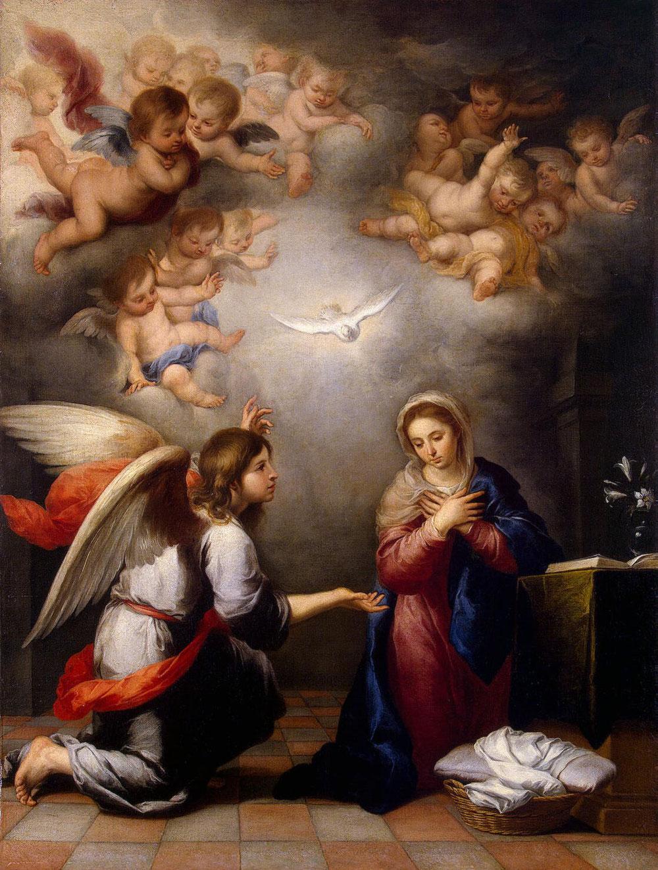 バルトロメ・エステバン・ペレス・ムリーリョ「受胎告知」、1655―60年、エルミタージュ美術館所蔵