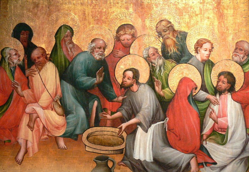 マインツ由来の祭壇画「使徒たちの足を洗うイエス」、1400/1420年、ゲルマン国立博物館(ニュルンベルク)所蔵